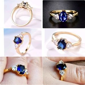 24k Yellow Gold Filled Blue Sapphire Crystal